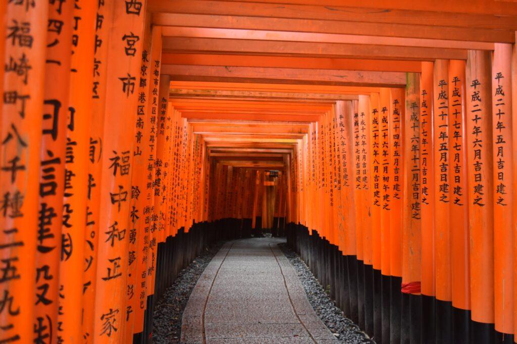 photo of walkway between shinto shrine